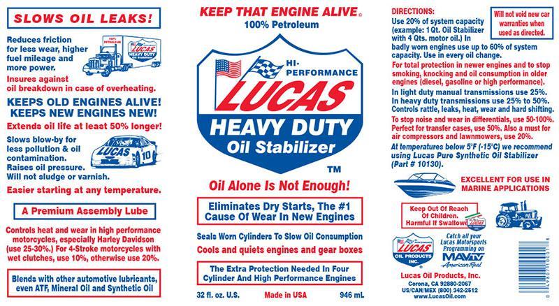 Additivo Stabilizzatore olio  Lucas Oil